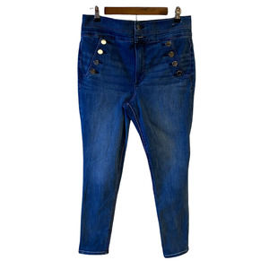 Express Super High Waisted Denim Perfect Button Front Ankle Skinny Jeans